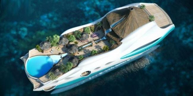 El yate con una isla a bordo